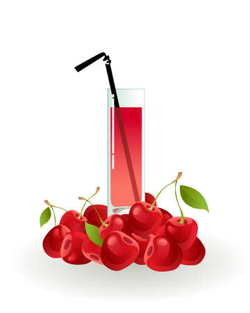 cold drinks: Glass of cherry juice on a white background