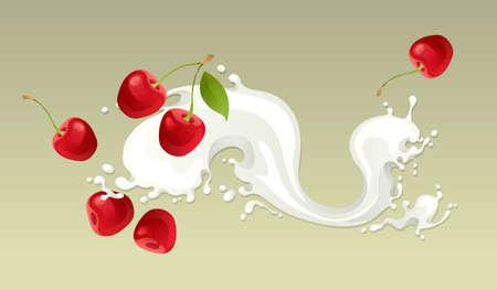 Milk splash with cherry on light background  Illustration