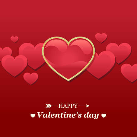 Valentine s day card with red hearts Illustration