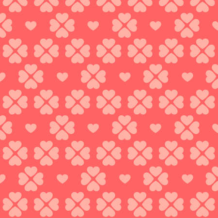 Seamless pink heart pattern on red background