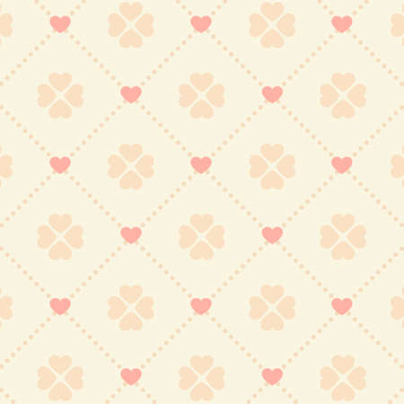 Seamless pink heart pattern on light background  Illustration