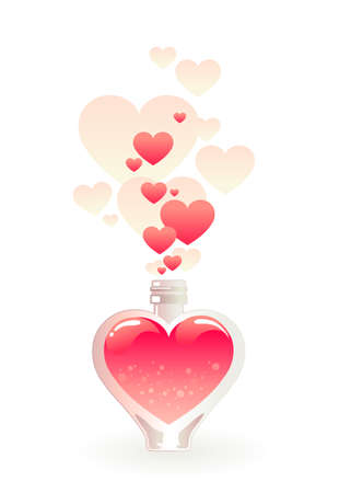 Glass bottle filled with a pink love potion Vector