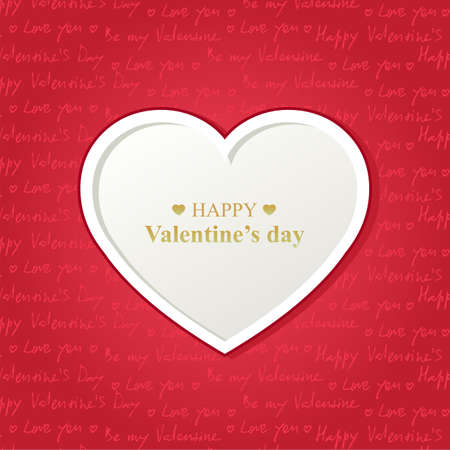 Valentine s day card with white heart on red background
