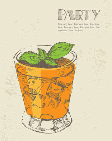 Hand drawn illustration of tropical cocktail