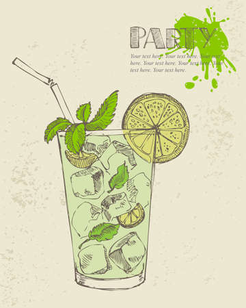 Hand drawn illustration of mojito with mint and lime  Vector