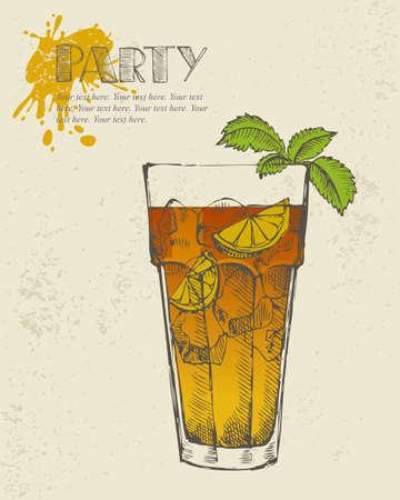 ice tea: Hand drawn illustration of Long island iced tea cocktail