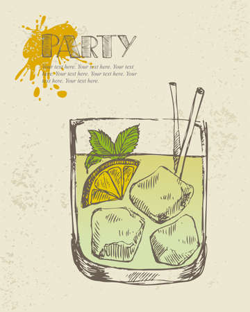 Hand drawn illustration of iced tropical cocktail
