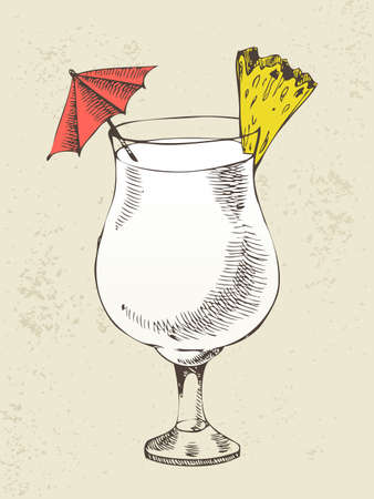 Pina colada cocktail with pineapple in glass cup