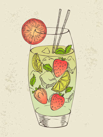 Hand drawn illustration of mojito with strawberry  Vector