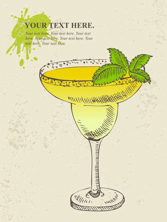 Hand drawn illustration of tropical yellow cocktail with mint