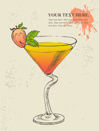 Hand drawn illustration of tropical cocktail with mint