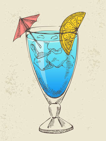 Hand drawn illustration of blue cocktail with ice  Vector