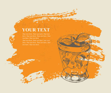 Tropical cocktail on orange grunge background