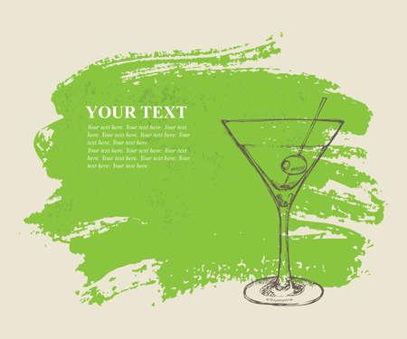 Iced cocktail on green grunge background Illustration