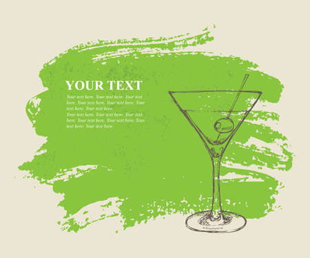 Iced cocktail on green grunge background Illustration
