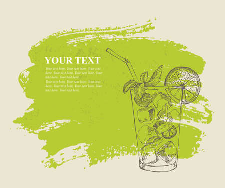 green grunge background: Mojito with mint and lime on green grunge background