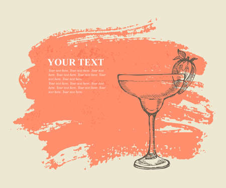 Tropical cocktail with strawberry on pink grunge background Vector