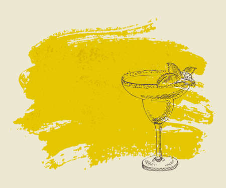 Tropical cocktail with mint on yellow grunge background