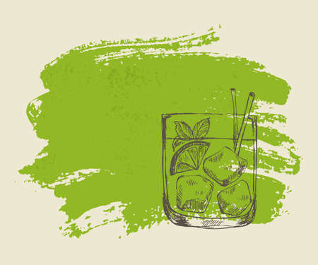 Iced tropical cocktail with mint on green grunge background Ilustração