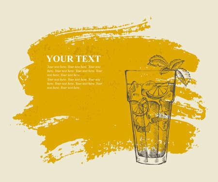 Long island iced tea cocktail on orange grunge  Vector