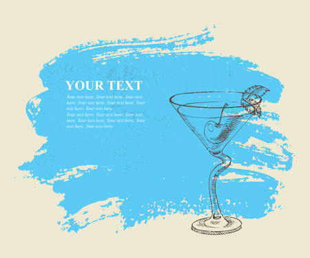 Tropical cocktail with mint on blue grunge background Illustration