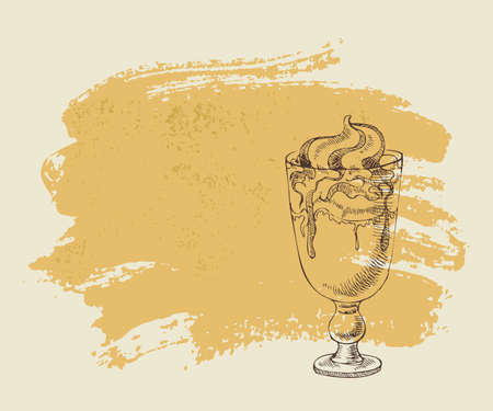 Ice cream with coffee cocktail on orange grunge background