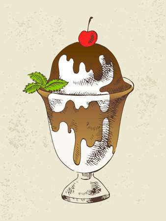 Vanilla ice cream with chocolate topping and mint in cup Ilustração