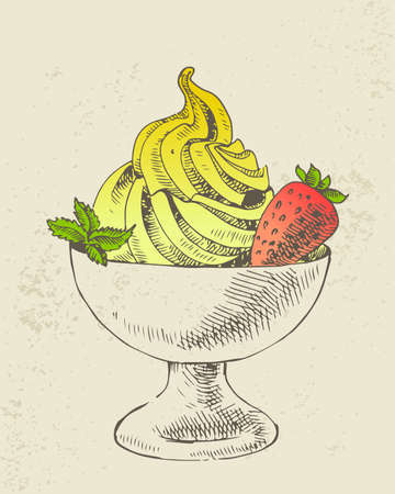 Yellow ice cream with mint and strawberry in cup Ilustração