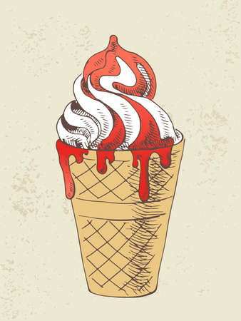 Hand drawn illustration of vanilla ice cream with strawberry syrup