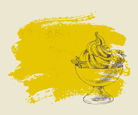 Ice cream with strawberry on yellow grunge background