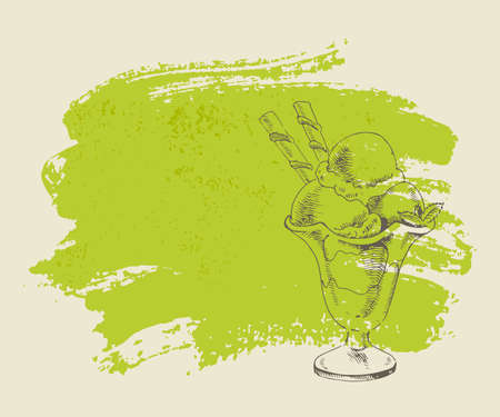 Vanilla ice cream with mint in cup on green grunge background  Illustration