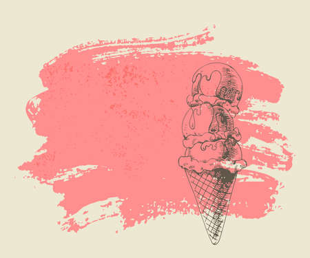 Ice cream scoops on cone on pink grunge background