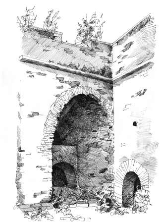 Hand-drawn sketch of old castle ruins