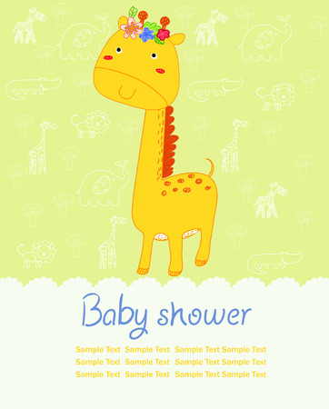 mile:  Baby Shower card with giraffe