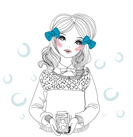 Girl with vintage film camera Vector