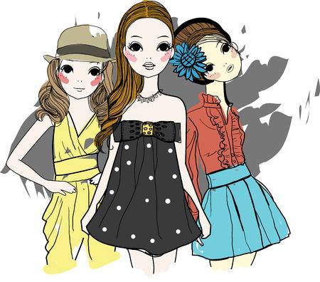 Drie mode meisjes Stock Illustratie