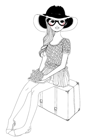 fashion portrait: Pretty girl Illustration