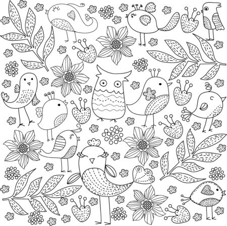 enchanting: bird and flower background