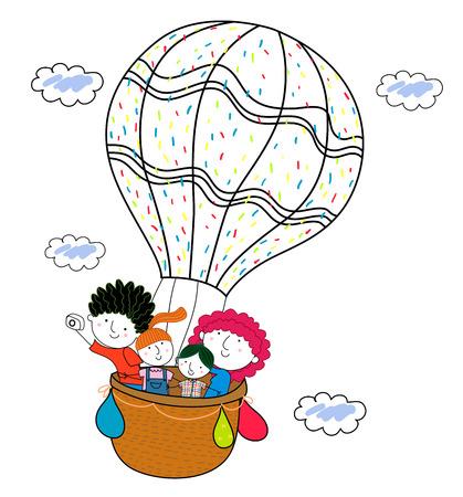 hot couple: Family and hot balloon