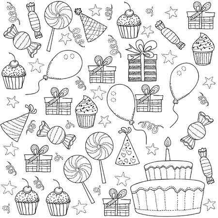 Sketch Clipart Set of Birthday Party Vector