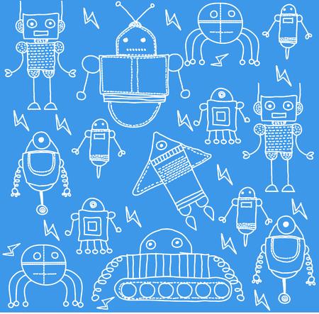 Set of cartoon robots Vector