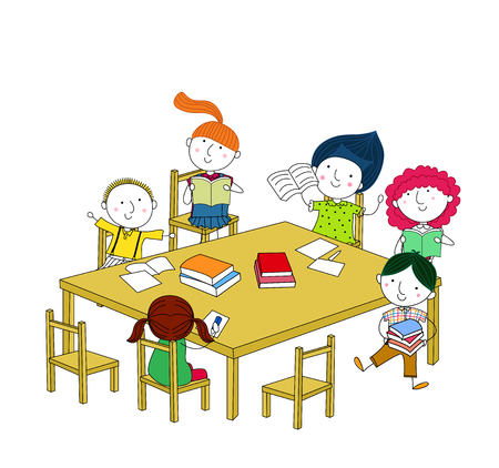 Children write and read, sitting at the table  Vector