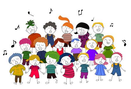 children choir singing Illustration