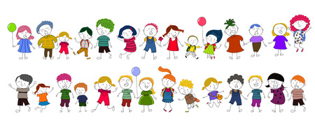 balloon girl: Cute cartoon kids playing