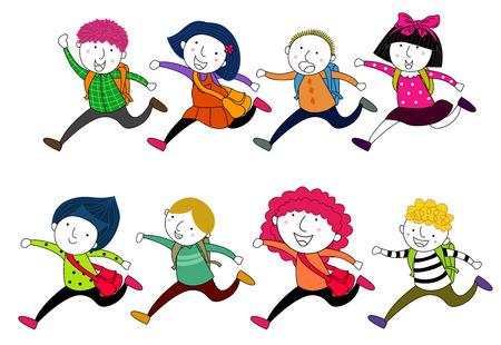 school days: running children