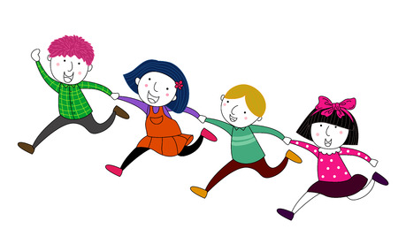 pre school: Four children running Illustration