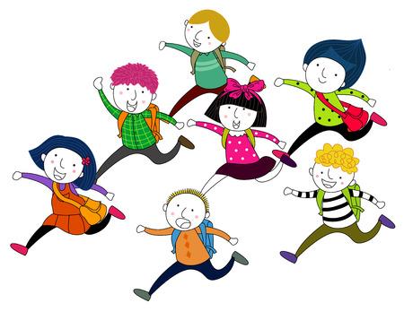 breaks: children running Illustration