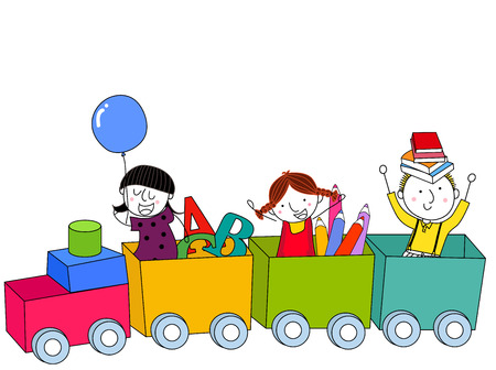 Kids and train Vector