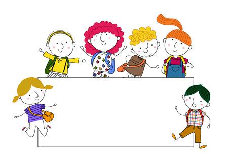 Cute cartoon kids playing and frame