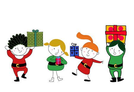 cartoon present: Kids and gift box